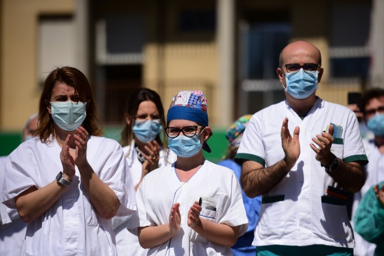 coronavirus, health workers, Modena, Italy, April 2020