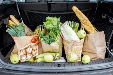 Food bags in car trunk