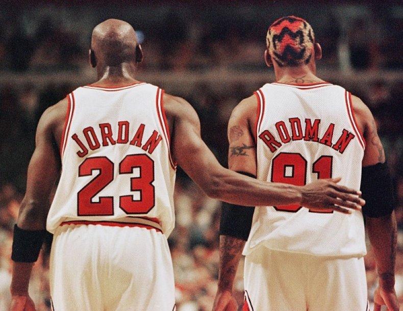 Michael Jordan and Dennis Rodman