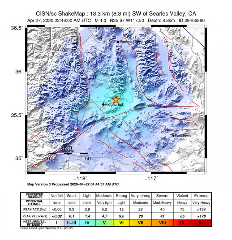 USGS California Earthquake Shakemap
