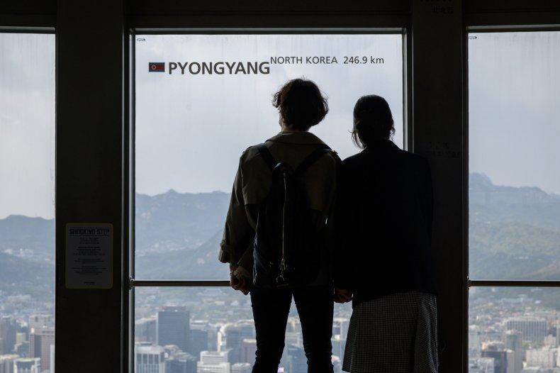 south, korea, view, pyongyang, border