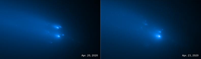 C/2019 Y4 (ATLAS), taken on April 20 (left) and April 23, 2020