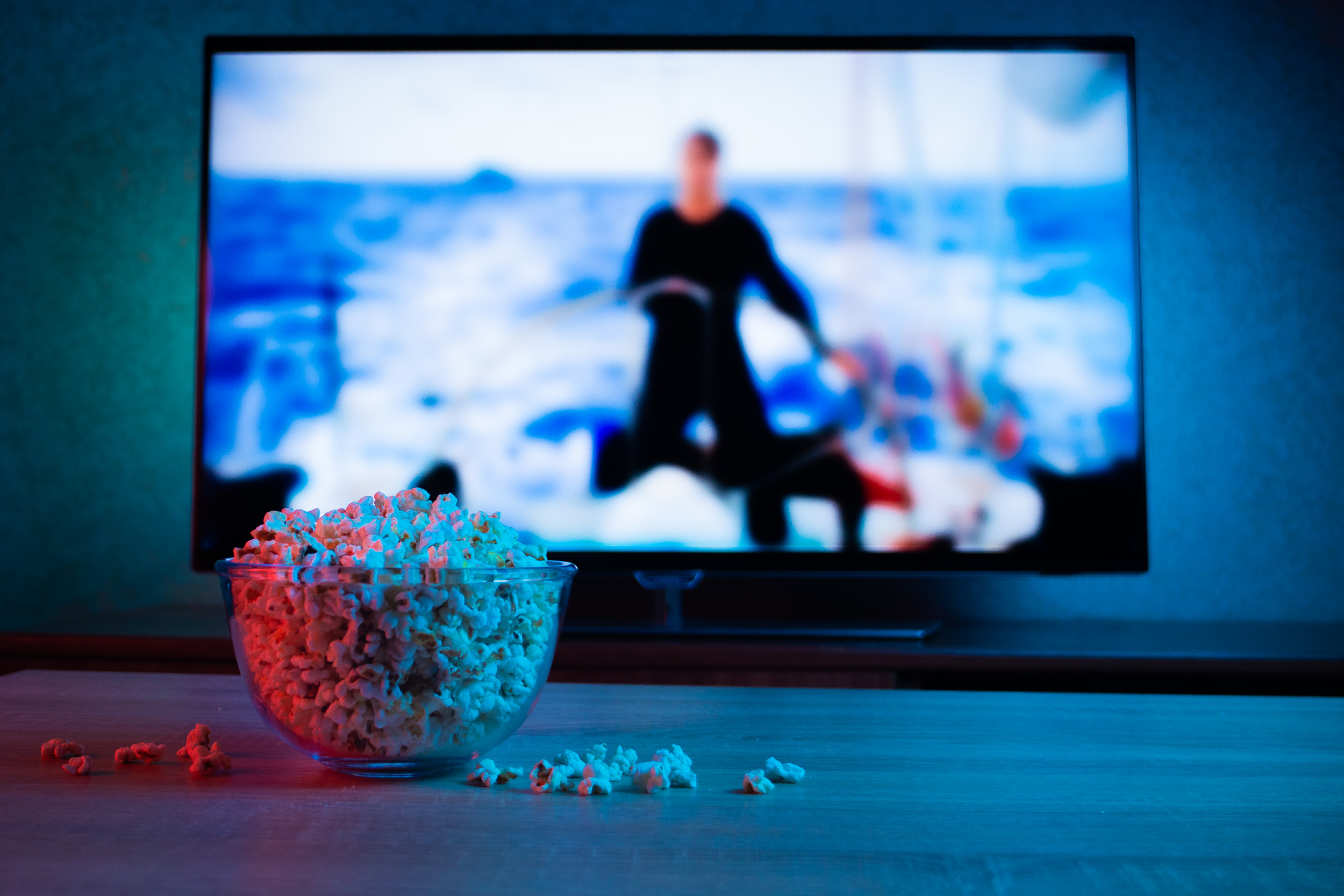 TV with popcorn