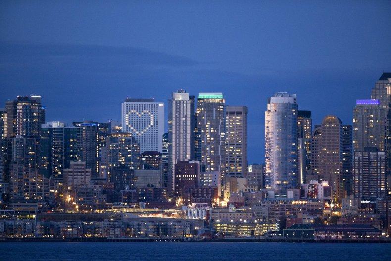 Seattle, Washington, cityscape, night, April 2020