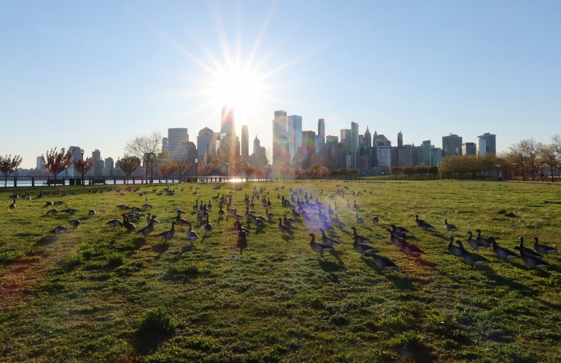 Sunrise in New York City From the Reopened Liberty State Park in New Jersey