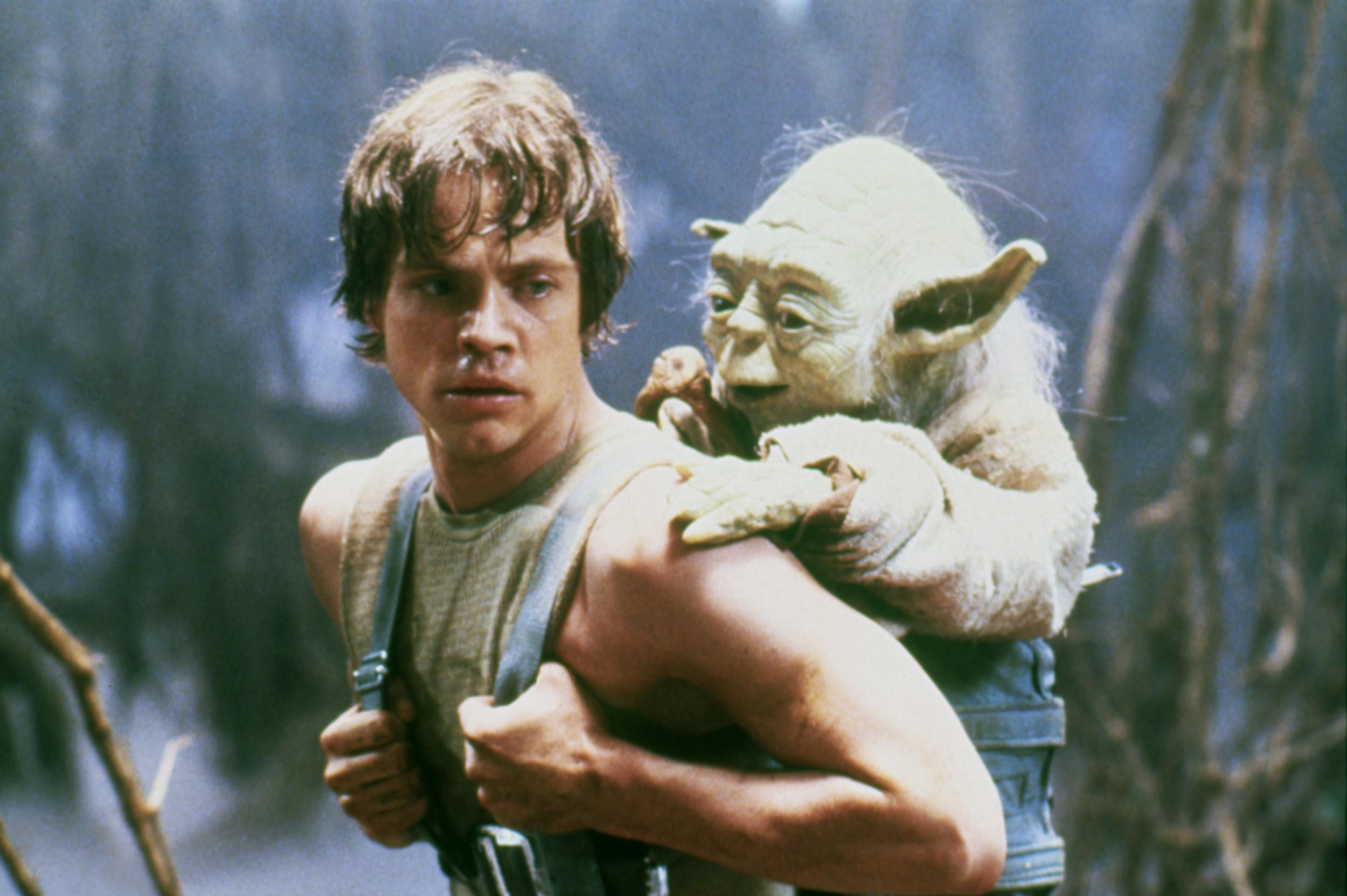 """Luke Skywalker (Mark Hamill) left and Yoda (Frank Oz) right in """"Star Wars: Episode V - The Empire Strikes Back"""" (1980)"""
