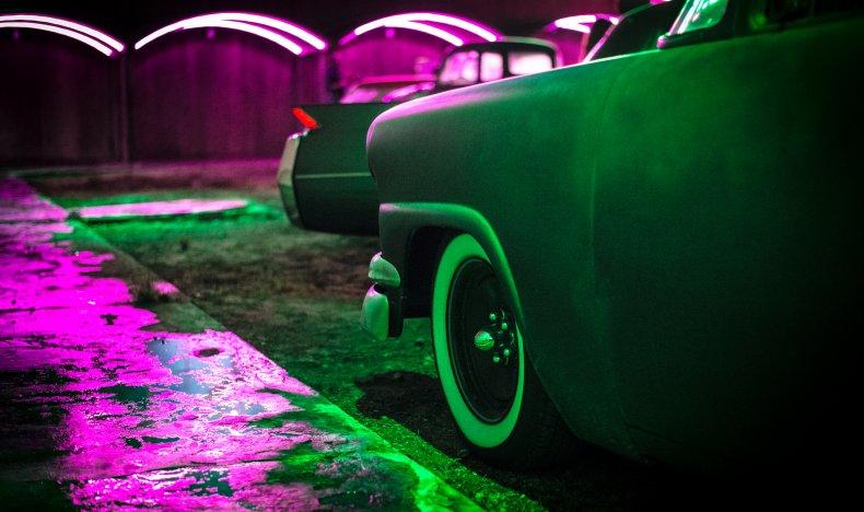 night club cars stock photo