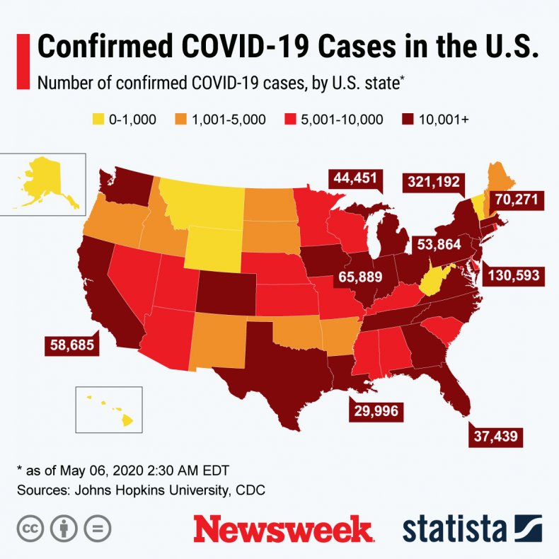 The graphic shows the number of confirmed COVID-19 cases by U.S. State