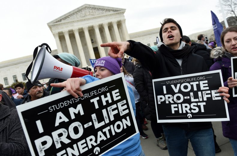 Pro-life protesters outside Supreme Court.