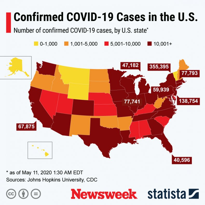 The graphic shows the number of confirmed COVID-19 cases by state.