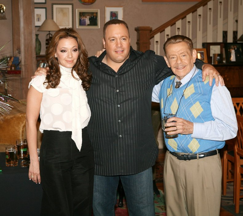 Leah Remini and actors Kevin James and Jerry Stiller
