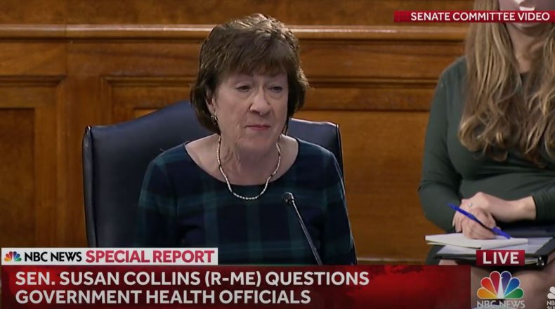 susan collins coronavirus senate hearing