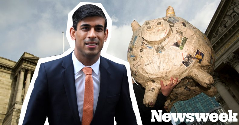 Rishi Sunak comp image including piggy-bank