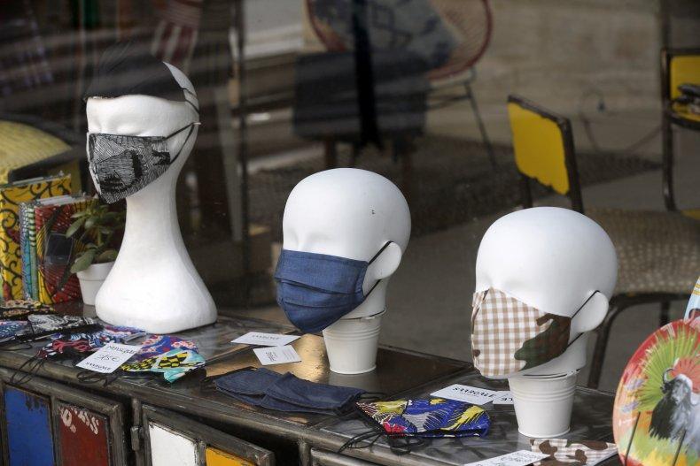 Mannequins wearing face masks