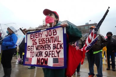 Michigan protestors stay at home order