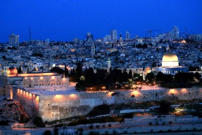 Old City Jerusalem at dusk