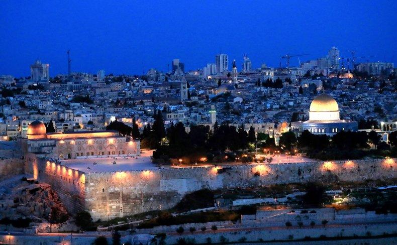 Old City Jerusalem at dusk