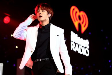 Jungkook of K-pop band BTS performing at the Jingle Ball concert series on December 6, 2019 in Los Angeles, California.