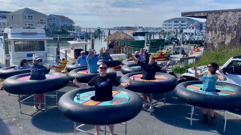 Maryland Seafood Bar Using Giant Inner Tubes on Wheels For Patrons ...