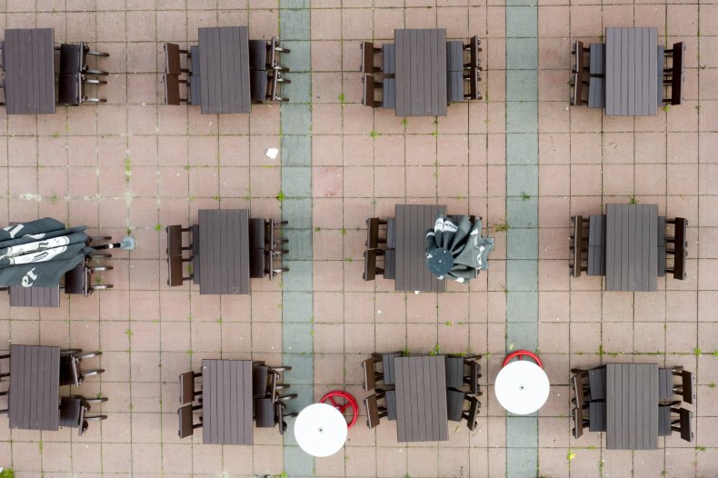 empty tables drone shot