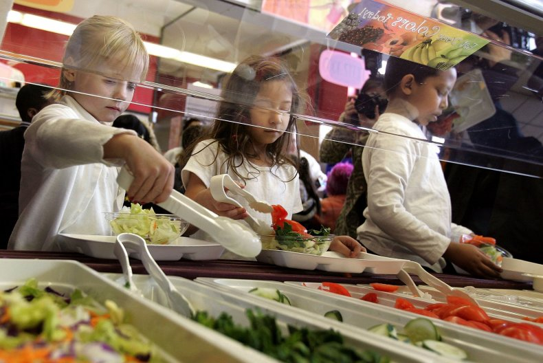 School lunch, cafeteria, Chicago, Illinois, March 2006