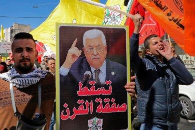 palestine, mahmoud, abbas, protest, deal, century