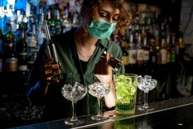 Bartender with mask
