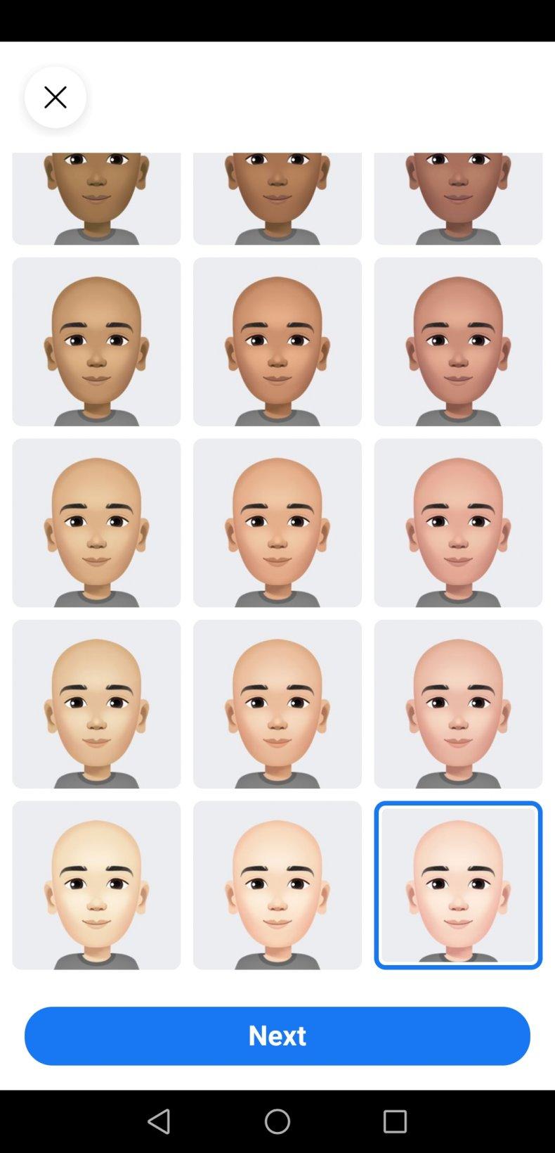 Screenshot Facebook Avatar Skin tone
