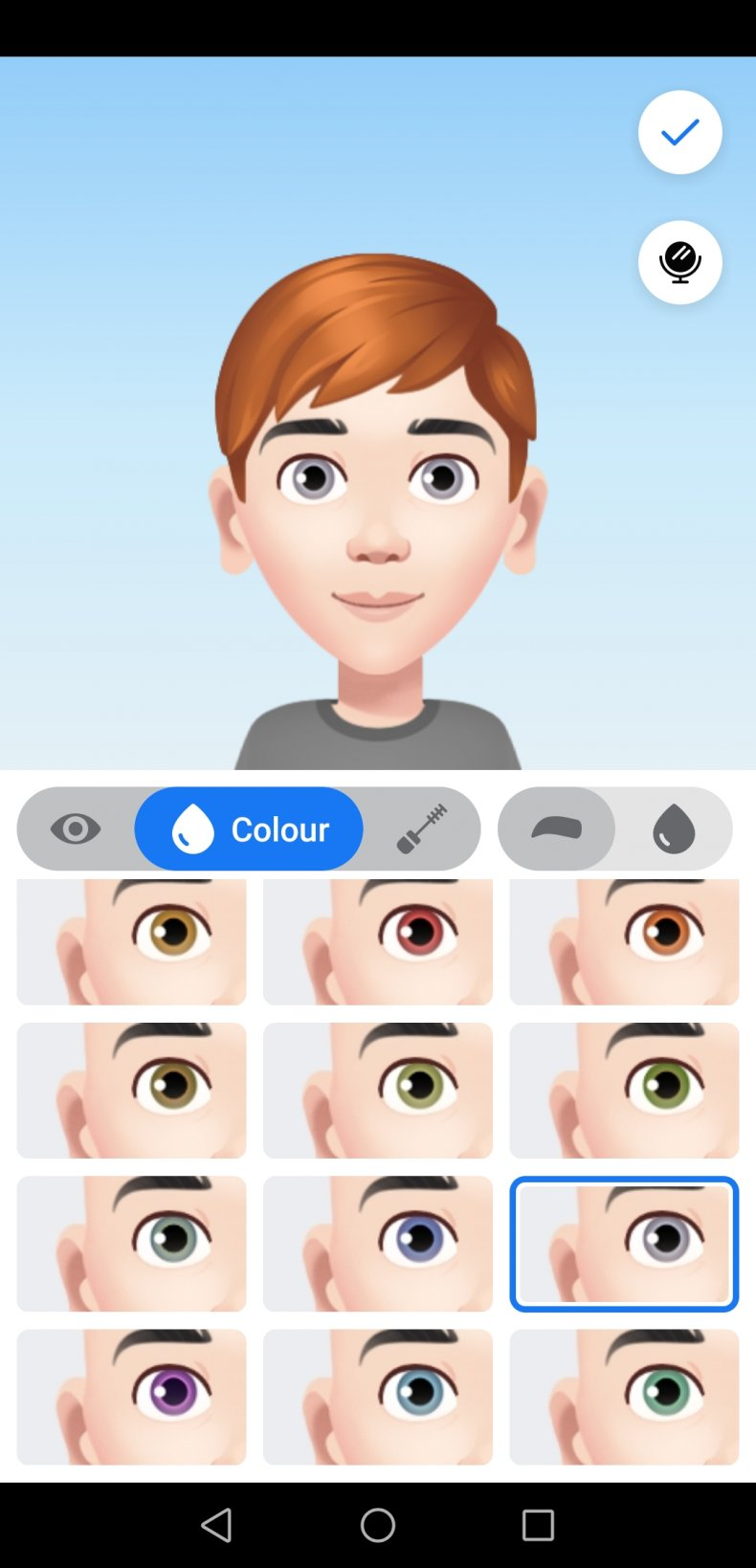 Screenshot Facebook Avatar Eye Style and Color