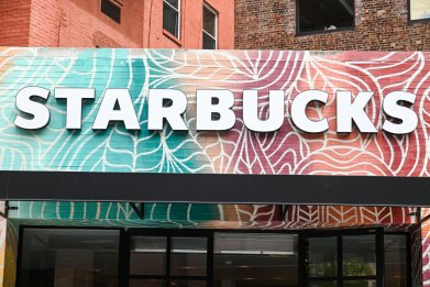 Starbucks storefront sign in New York City pictured on May 19, 2020.