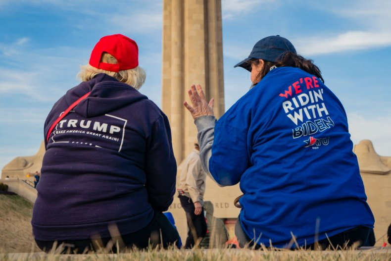 Trump and Biden supporters
