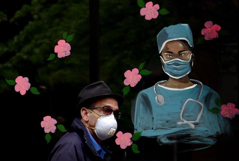 coronavirus, health worker, mural, Arlington, Virginia on May 6, 2020