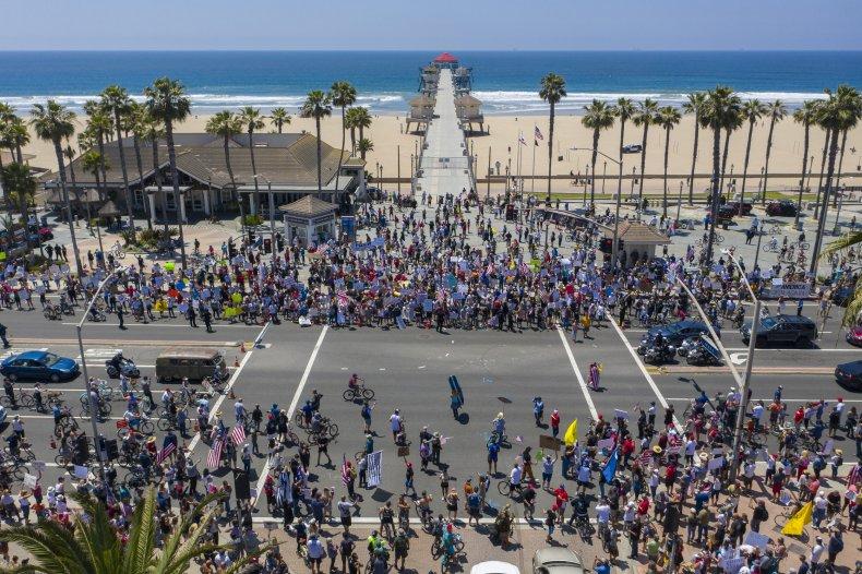 protests at Huntington Beach, California, May 2020