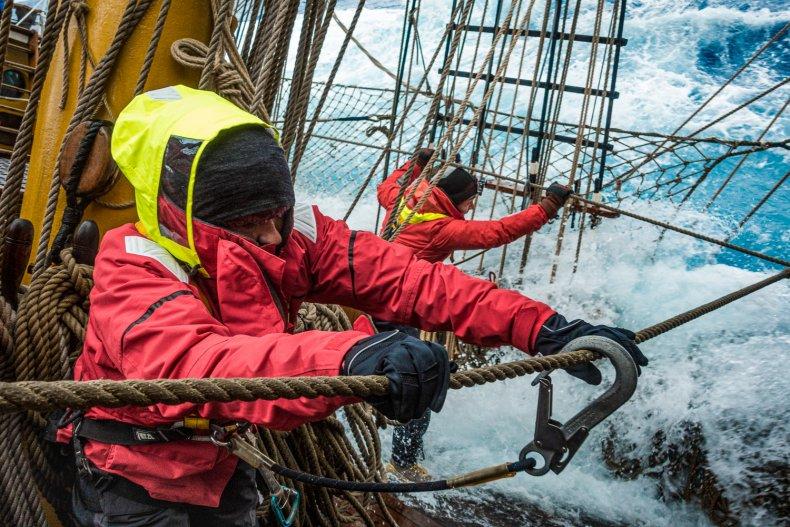 Bark Europa Antarctica Expedition Crew at Work