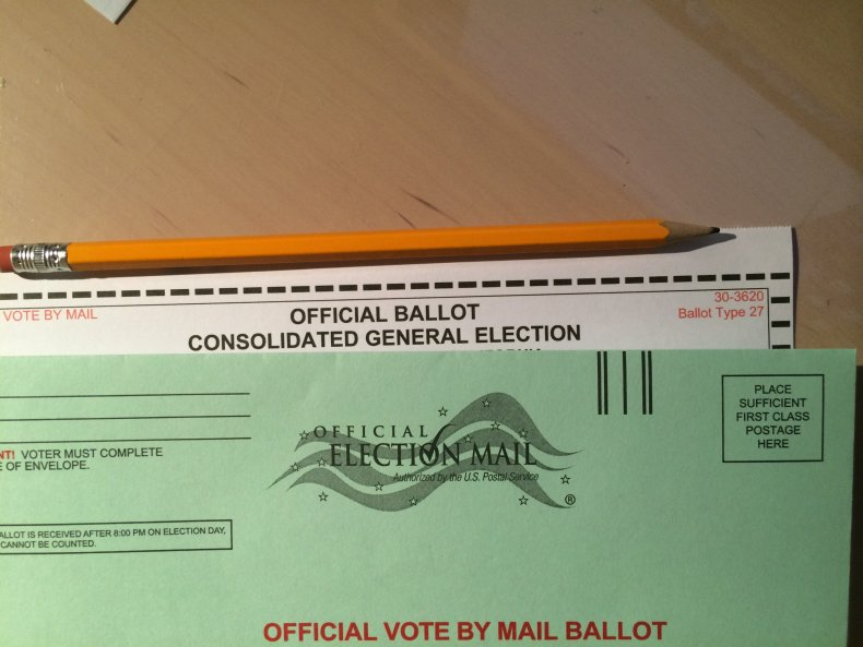 A mail-in voting ballot