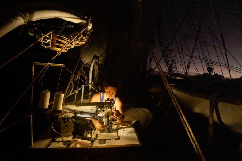 Bark Europa crew at work at night