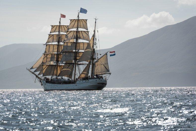 Bark Europa sails on calmer seas