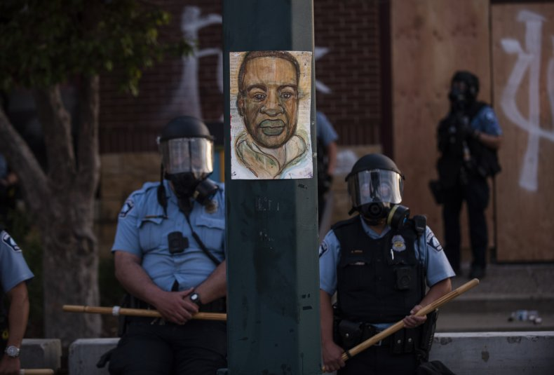 George Floyd Painting and Police Officers