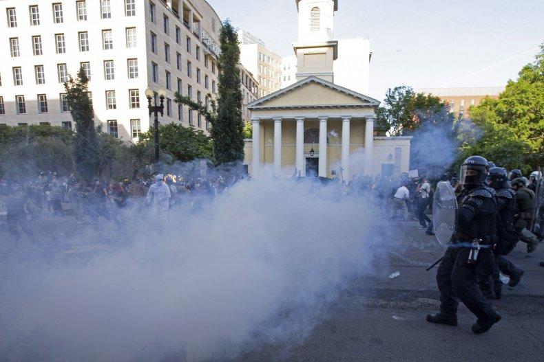st johns church tear gas
