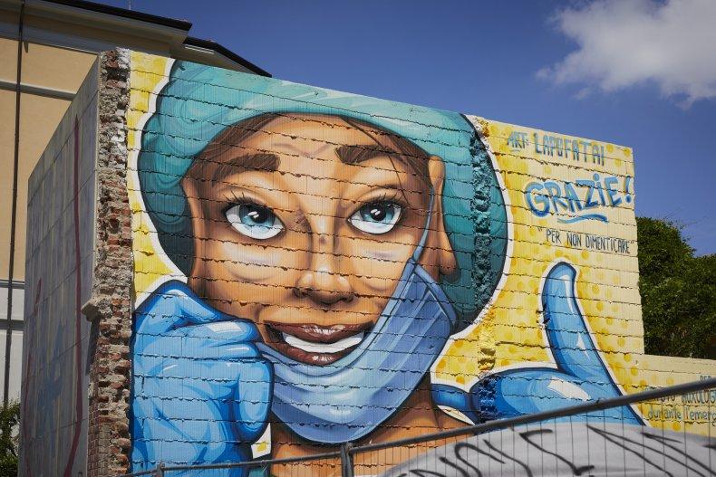 Healthcare worker mural