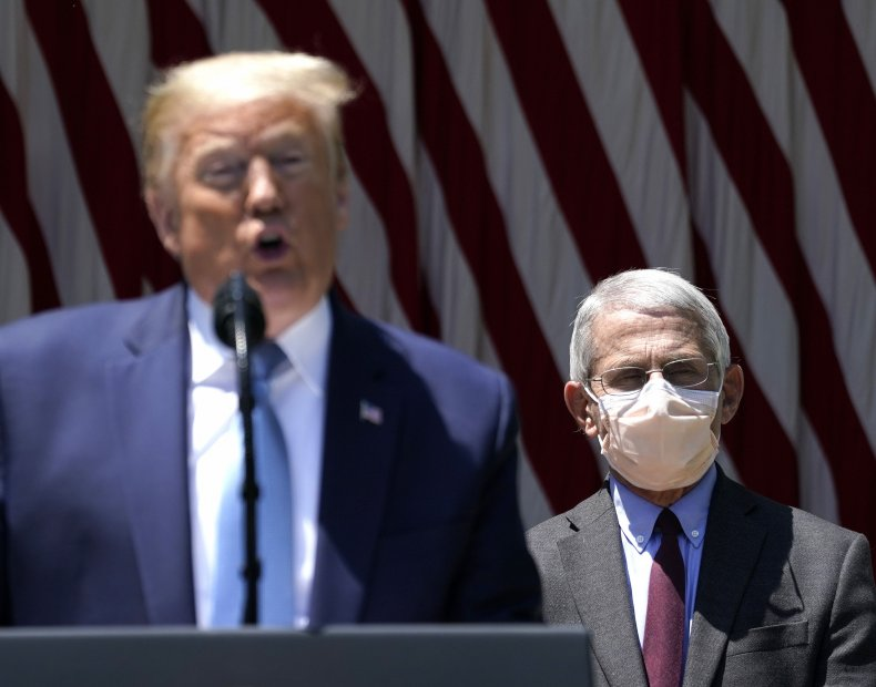 Dr. Anthony Fauci behind President Trump