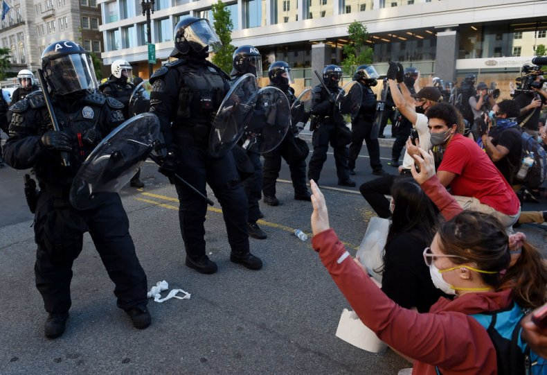 Police and protesters in Washington, D.C.