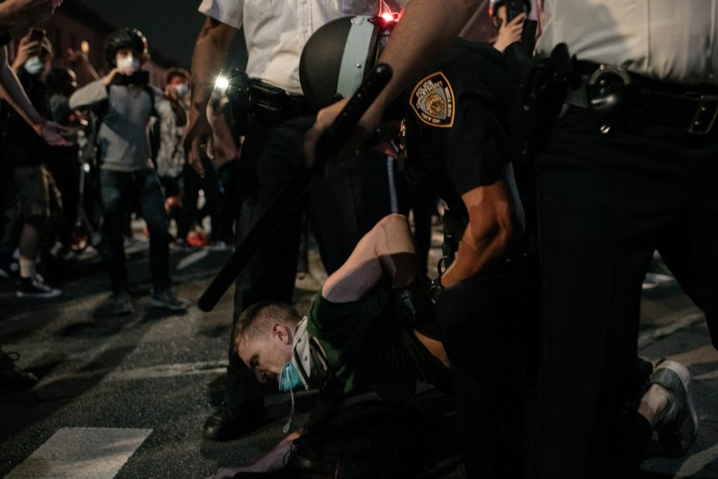 Protester arrested by NYPD officer June 2020