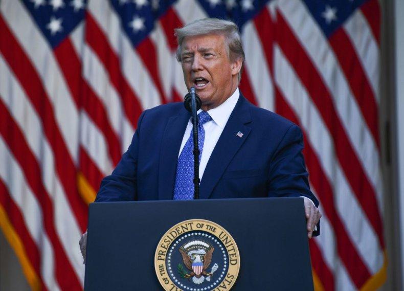 Donald Trump in White House Rose Garden