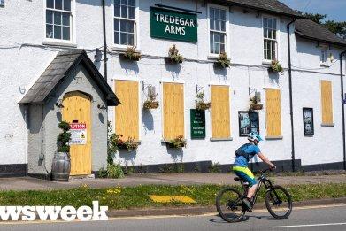 Boarded up Tredegar Arms pub in U.K.