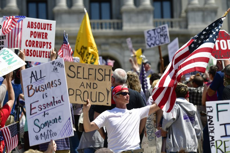 Pennsylvania protest, reopening