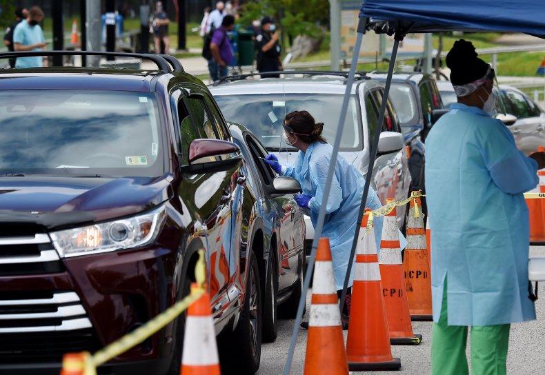 Drive-thru coronavirus testing in Virginia