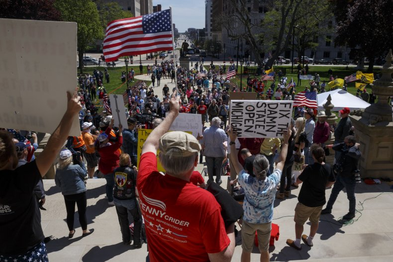 Michigan protestors, coronavirus reopening