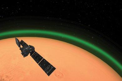 Mars, green glow