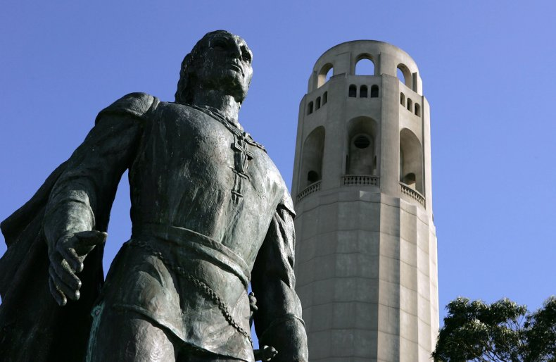 Columbus statue at Coit Tower